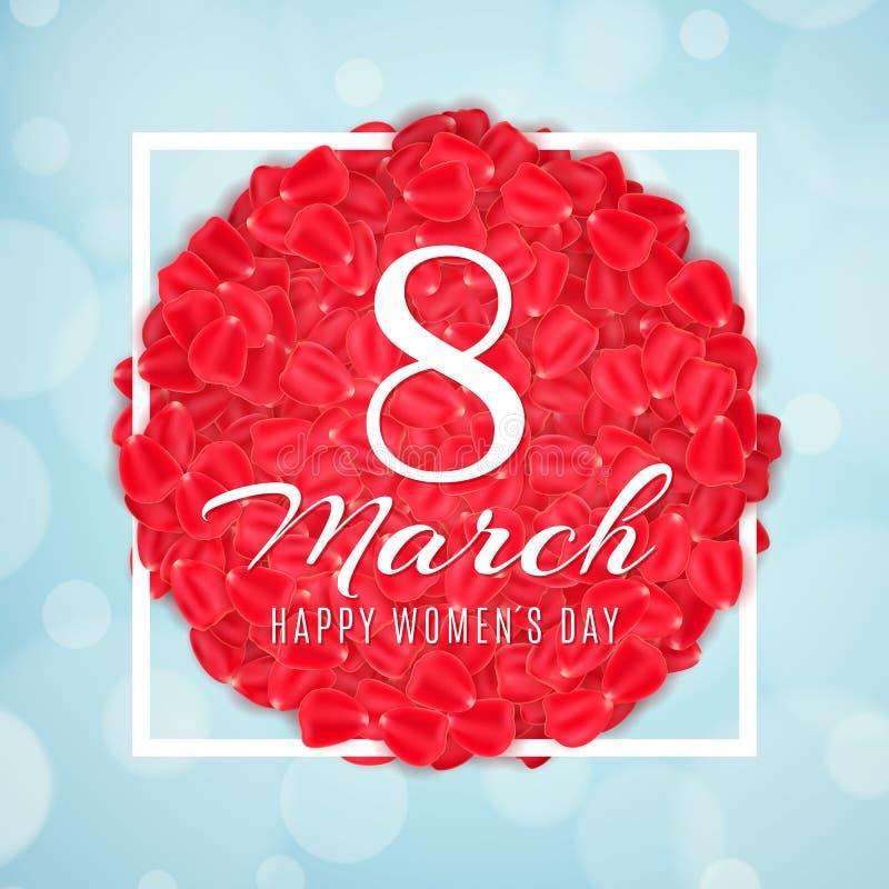 Bandeira sazonal para o 8 de março Cartão para o dia das mulheres felizes Pétalas de Rosa no quadro branco Luz - fundo azul com l ilustração stock