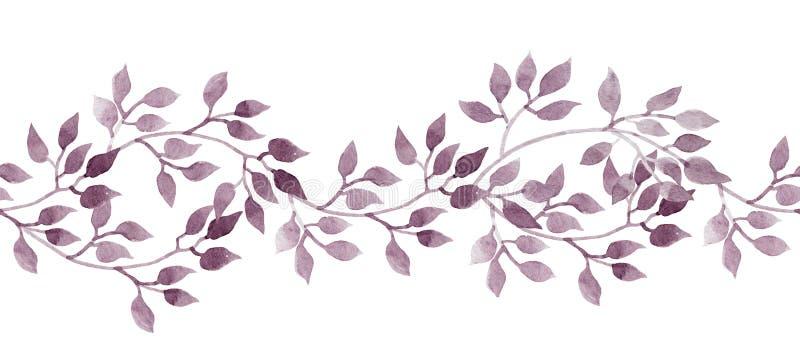 Bandeira sem emenda da listra - folhas pintados à mão do watercolour Teste padrão repetido ilustração do vetor