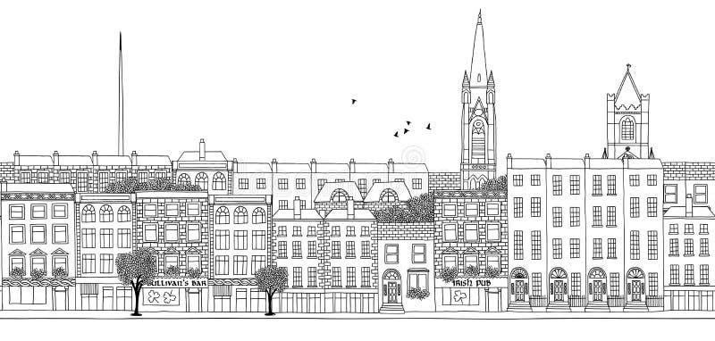 Bandeira sem emenda da skyline de Dublin ilustração royalty free
