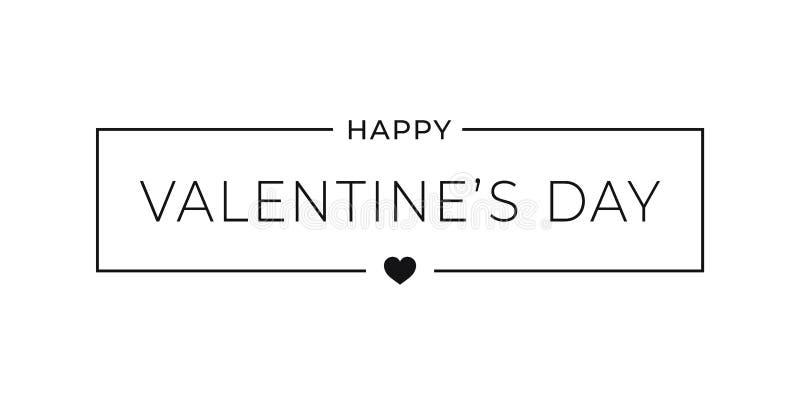 Bandeira simples do dia de Valentim Quadro da beira com fundo do coração do Valentim ilustração do vetor