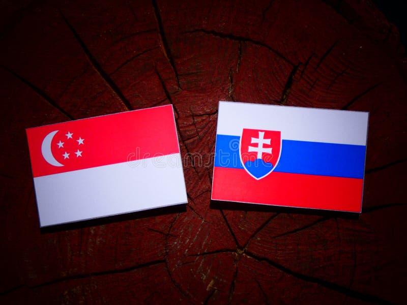 Bandeira singapurense com bandeira eslovaca em um coto de árvore isolado fotografia de stock royalty free