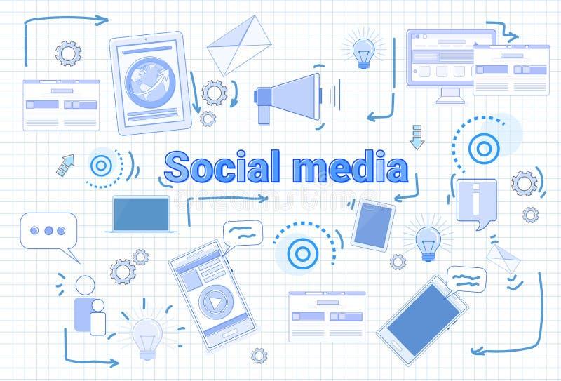 Bandeira social da conexão de Internet do conceito de Media Communication sobre o fundo esquadrado ilustração stock
