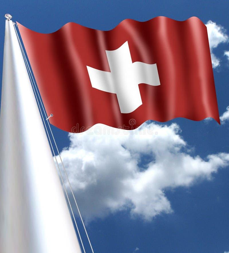 Bandeira suíça que acena no vento com o aspecto de seda de seda imagem de stock