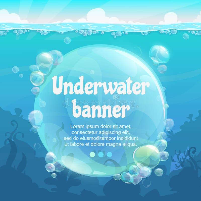 Bandeira subaquática com bolhas de ar brilhantes na parte inferior de mar azul ilustração royalty free