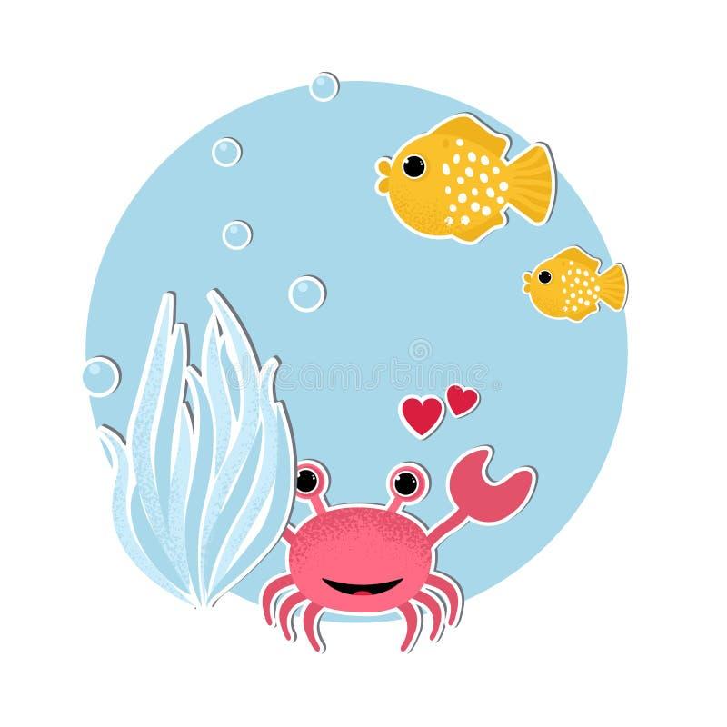 Bandeira subaquática com peixes, ilustração stock