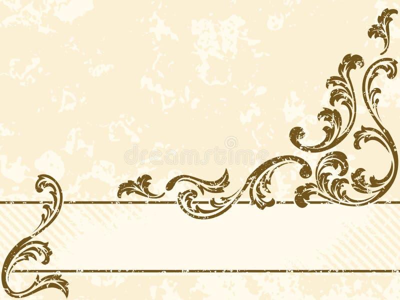 Bandeira suja do sepia do vintage, horizontal ilustração stock