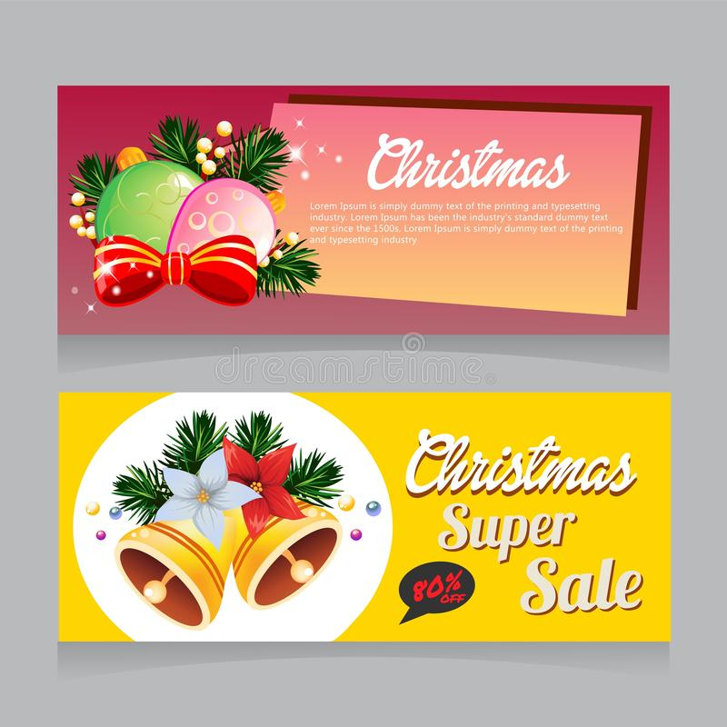Bandeira super da venda do Natal com vetor da decoração do sino ilustração stock