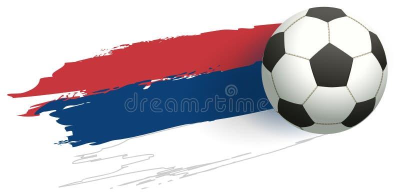 Bandeira Tricolor de serbia e voo da bola de futebol ilustração royalty free