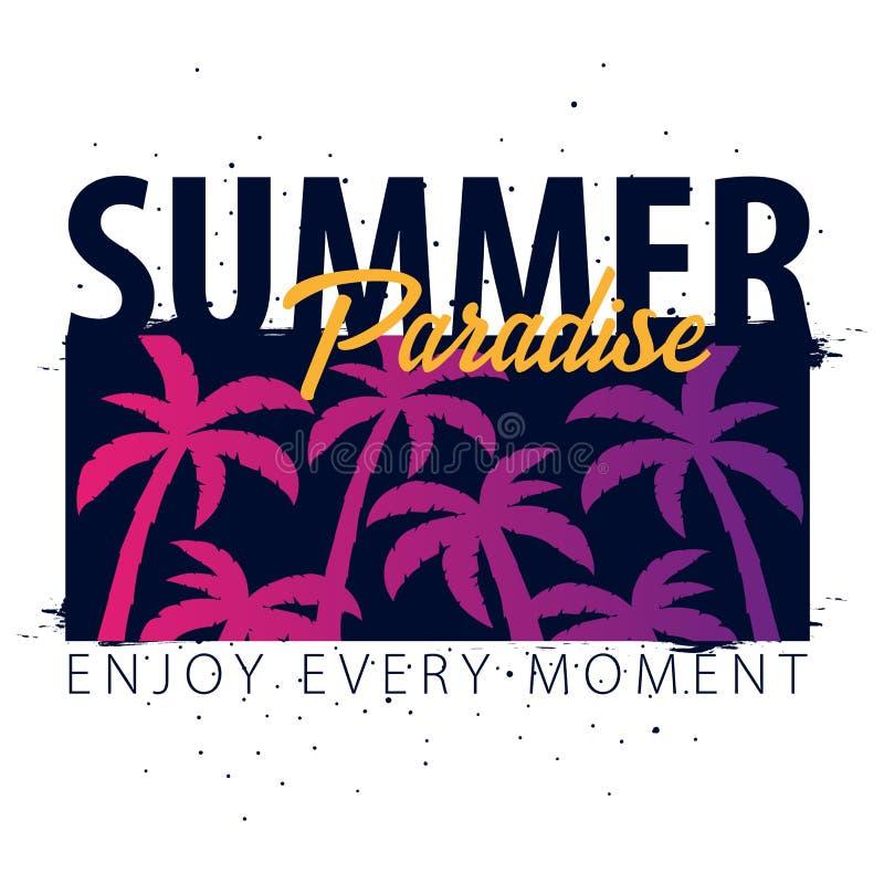 Bandeira tropical da venda do verão com palmas e por do sol Cartão do convite do inseto do cartaz do cartaz do verão Adultos novo ilustração royalty free