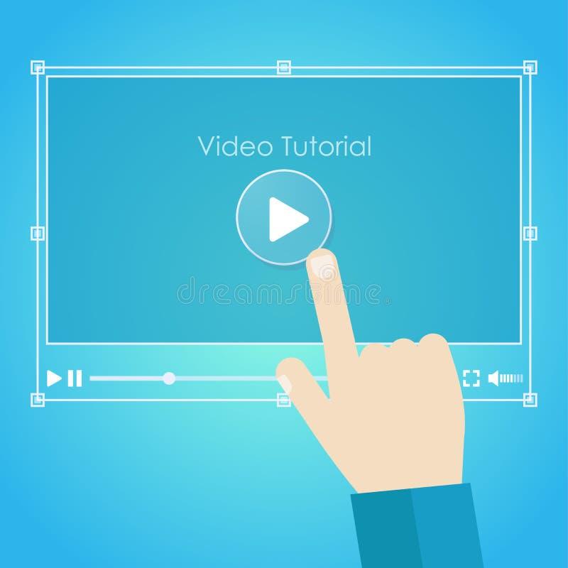 Bandeira tutorial video Apresentação transparente à moda com instrução ilustração stock