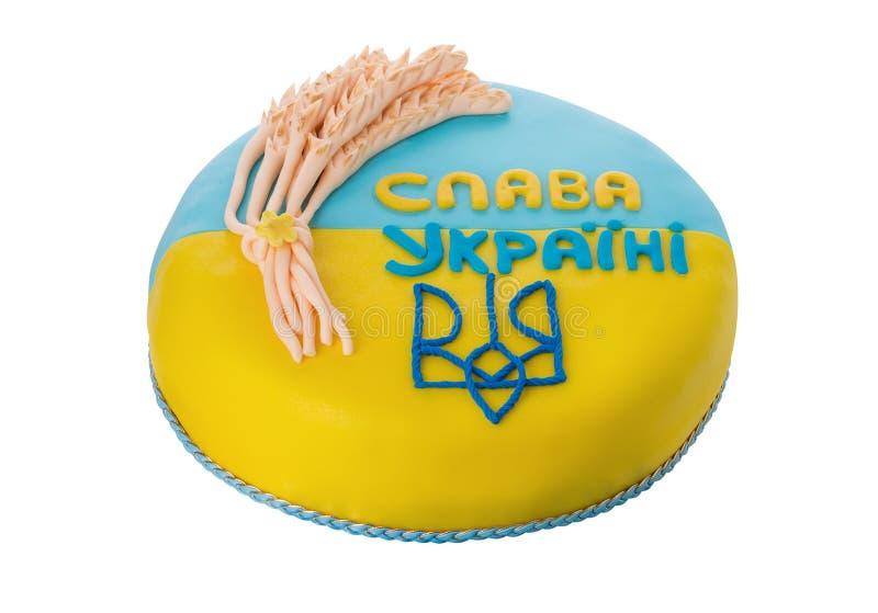 Bandeira ucraniana amarela azul do símbolo do bolo Felicitações para um patriota fotos de stock