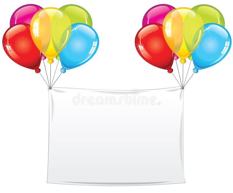 Bandeira vazia do aniversário do feriado com balões ilustração do vetor