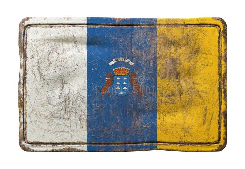 Bandeira velha das Ilhas Canárias ilustração stock