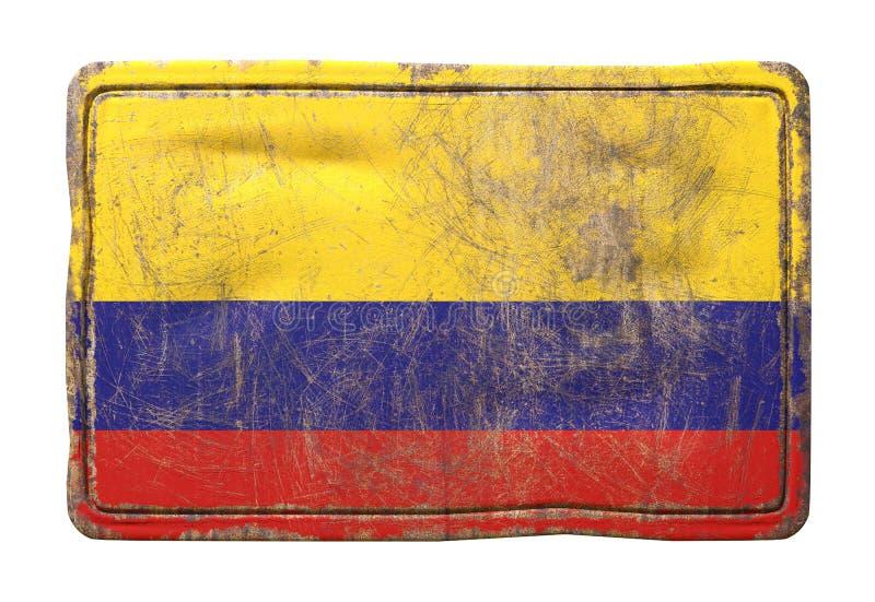 Bandeira velha de Colômbia ilustração stock