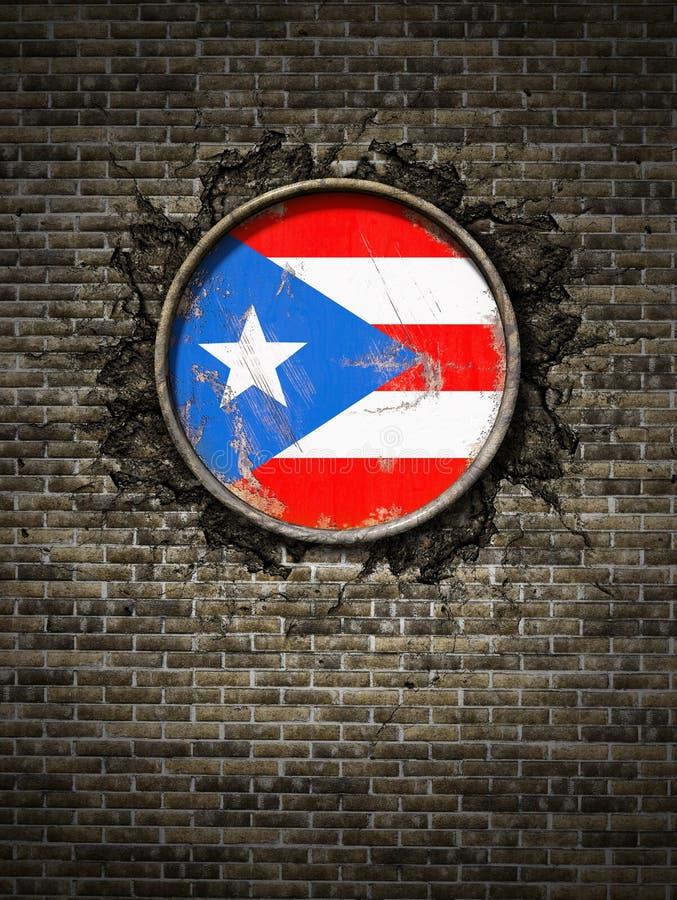 Bandeira velha de Porto Rico na parede de tijolo ilustração do vetor