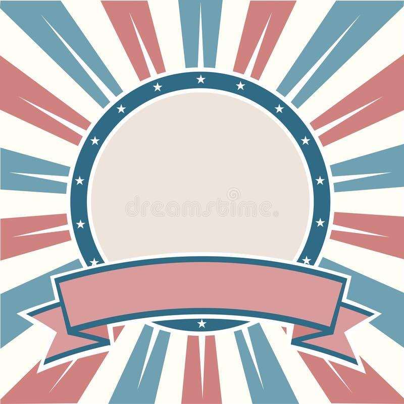 Bandeira velha do americano das cores ilustração stock