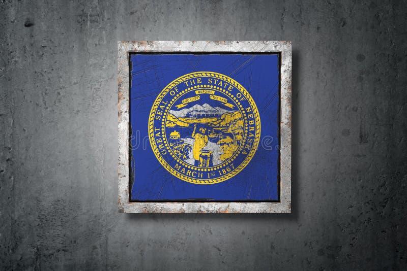 Bandeira velha do estado de Nebraska ilustração do vetor