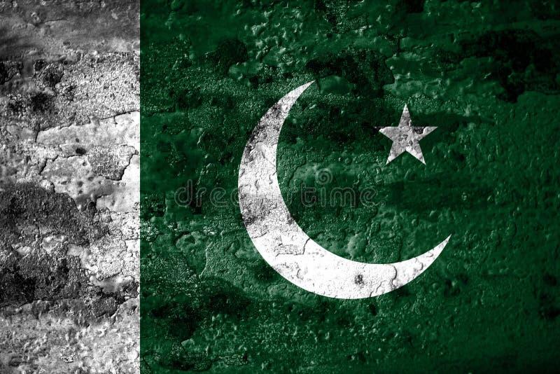 Bandeira velha do fundo de Paquistão do grunge ilustração stock