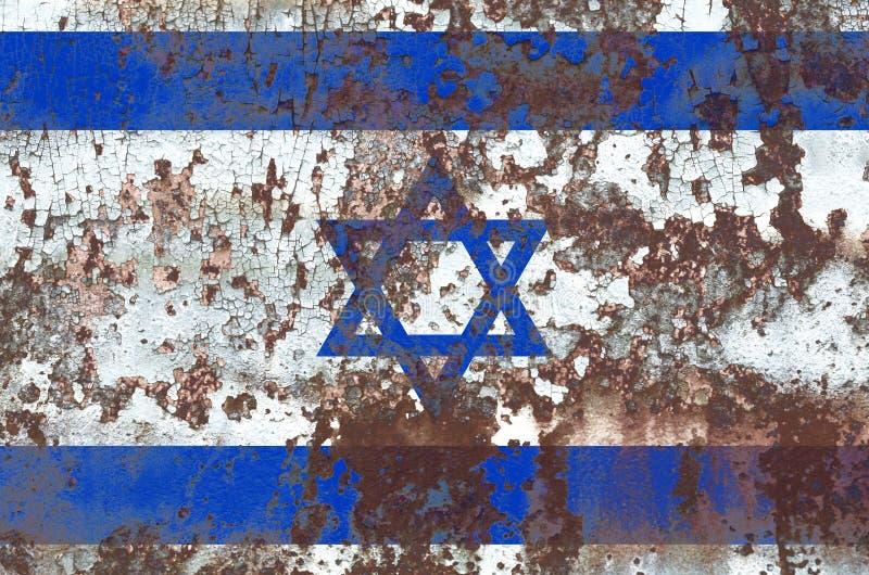Bandeira velha do fundo do grunge de Israel imagem de stock