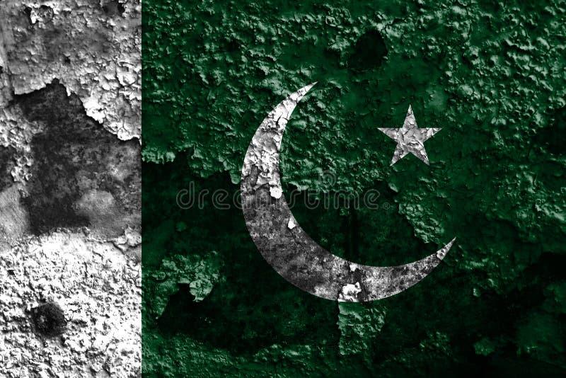 Bandeira velha do fundo do grunge de Paquistão fotografia de stock