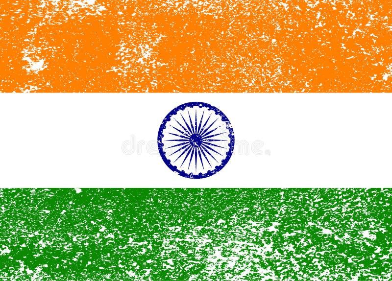 Bandeira velha do grunge da Índia, ilustração ilustração royalty free
