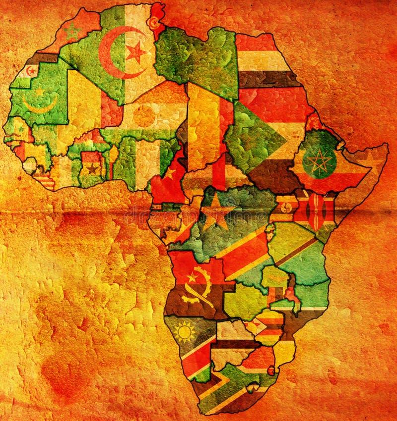 Bandeira velha do mapa de África ilustração royalty free
