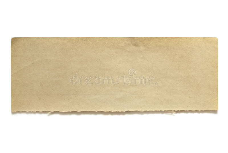 Bandeira velha rasgada do papel para cartas imagem de stock