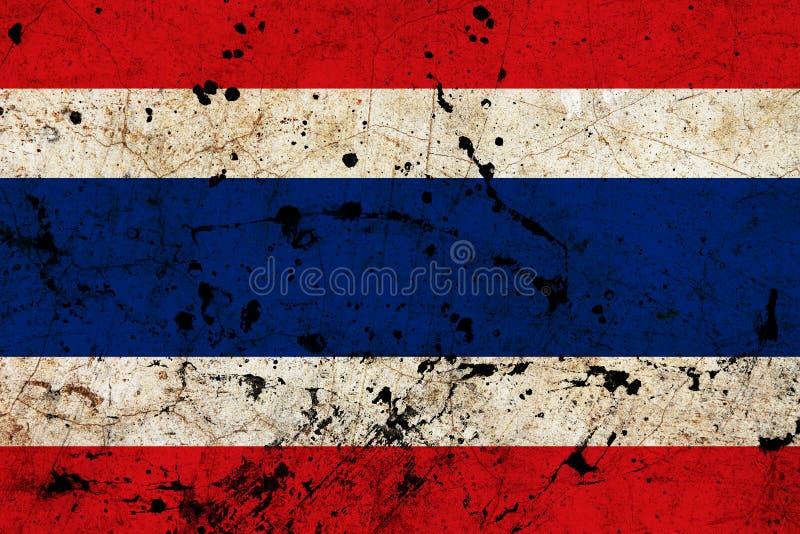 Bandeira velha suja do grunge de Tailândia imagens de stock