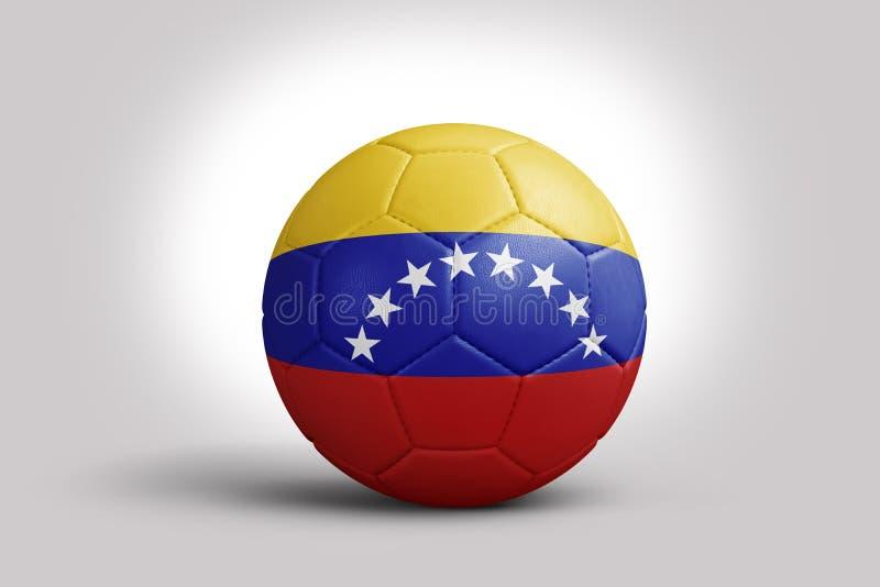 Bandeira venezuelana na bola, rendição 3d Bola de futebol na ilustração 3d ilustração royalty free