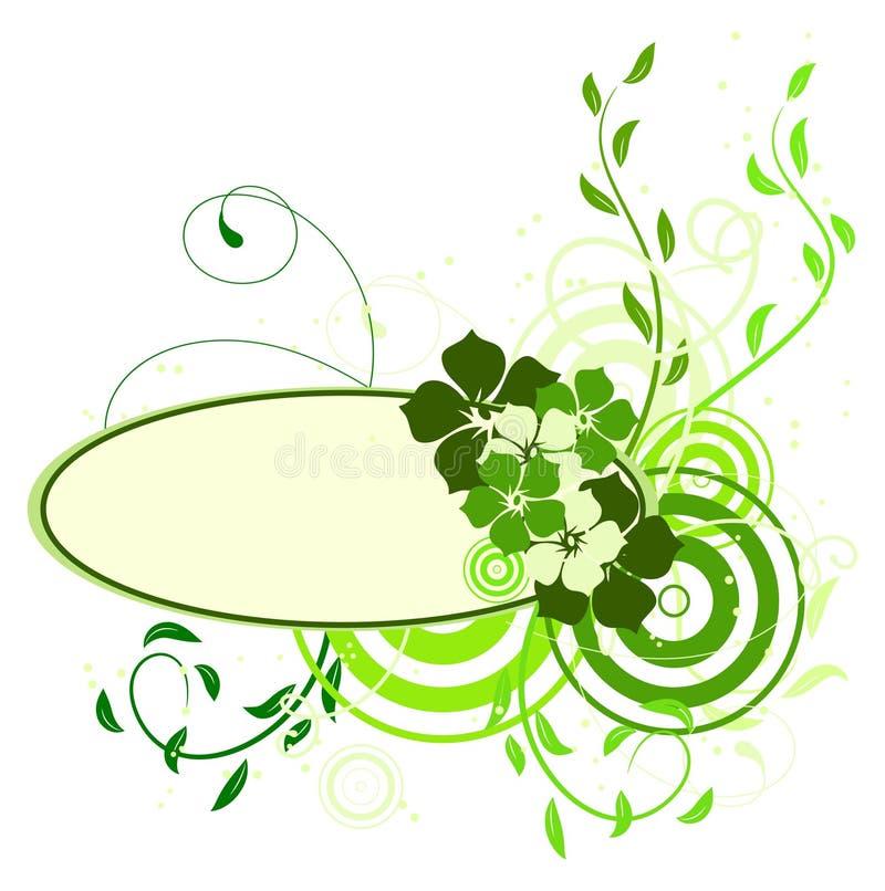Bandeira verde com flores ilustração royalty free
