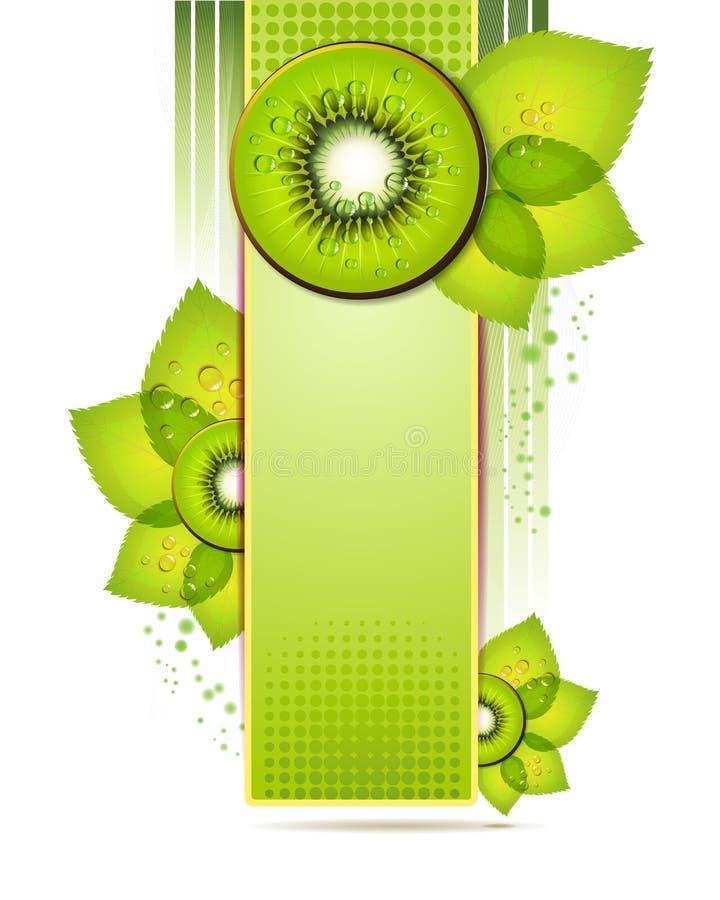 Bandeira verde com quivi ilustração royalty free