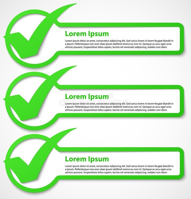 Bandeira verde da marca de verificação ilustração stock