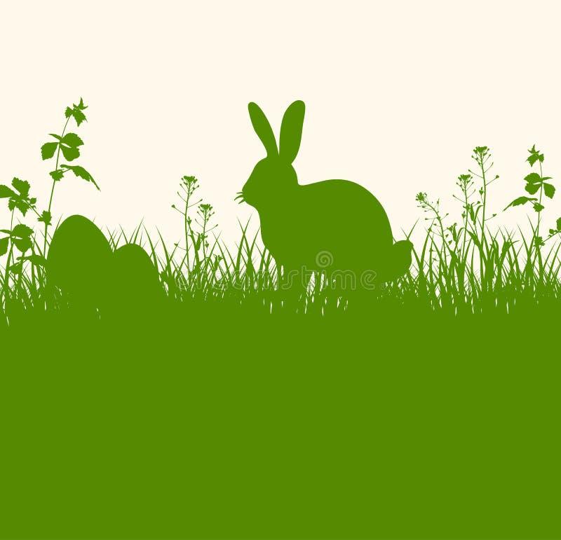 Bandeira verde da Páscoa com coelho ilustração royalty free