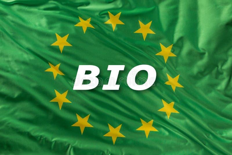 Bandeira verde da União Europeia como uma marca do bio alimento orgânico ou da ecologia ilustração royalty free
