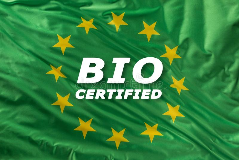 Bandeira verde da União Europeia como uma marca do bio alimento orgânico ou da ecologia ilustração stock