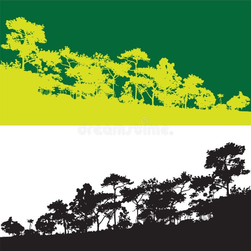 Bandeira verde do vetor do pinheiro, esboço selvagem da montanha da selva ilustração royalty free