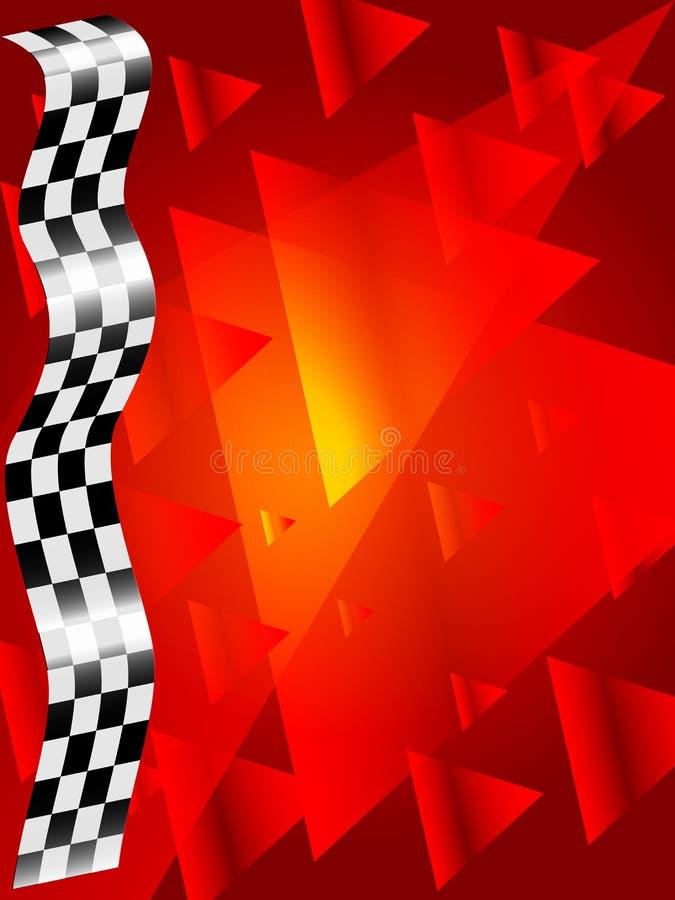 Bandeira verificada seda no fundo vermelho ilustração royalty free