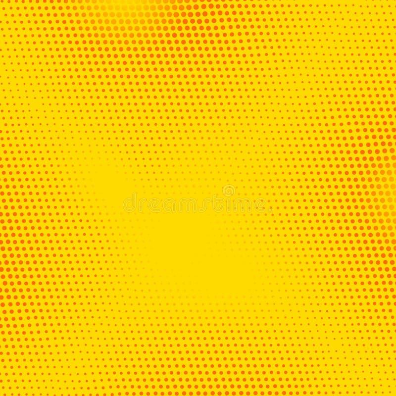Bandeira vermelha, amarela do pop art do vetor com pontos de intervalo mínimo Ilustração retro do fundo da banda desenhada do vin ilustração stock