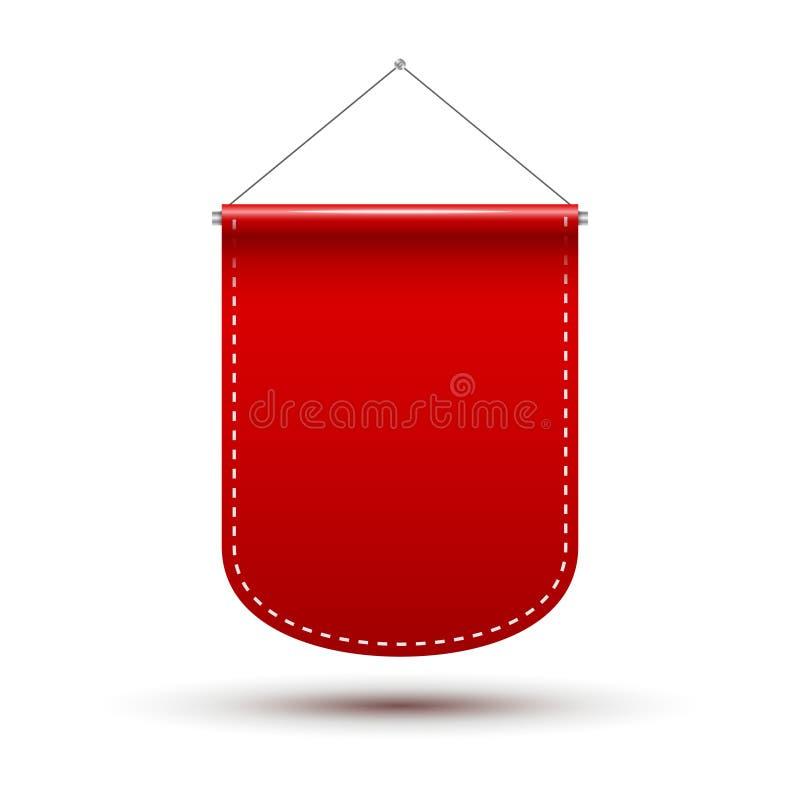 Bandeira vermelha da concessão da bandeira da flâmula Modelo vazio do molde do projeto da flâmula Propaganda vazia do espaço ilustração royalty free
