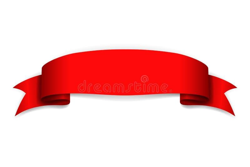 Bandeira vermelha da fita Placa do cetim Elemento da placa da curva da fita de rolo da etiqueta do projeto isolado no fundo branc ilustração do vetor