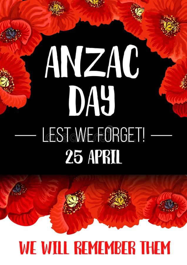 Bandeira vermelha da flor da papoila de Anzac Remembrance Day ilustração stock