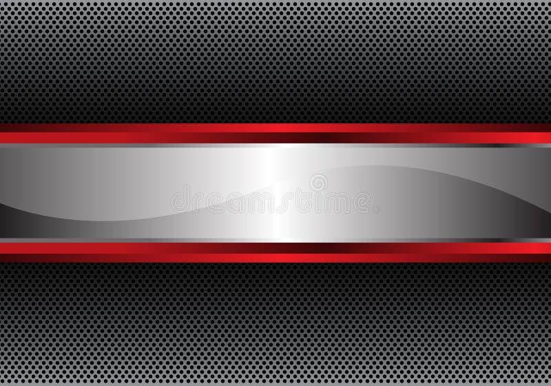 Bandeira vermelha de prata abstrata no vetor moderno do fundo do projeto cinzento do teste padrão da textura do círculo do metal ilustração stock