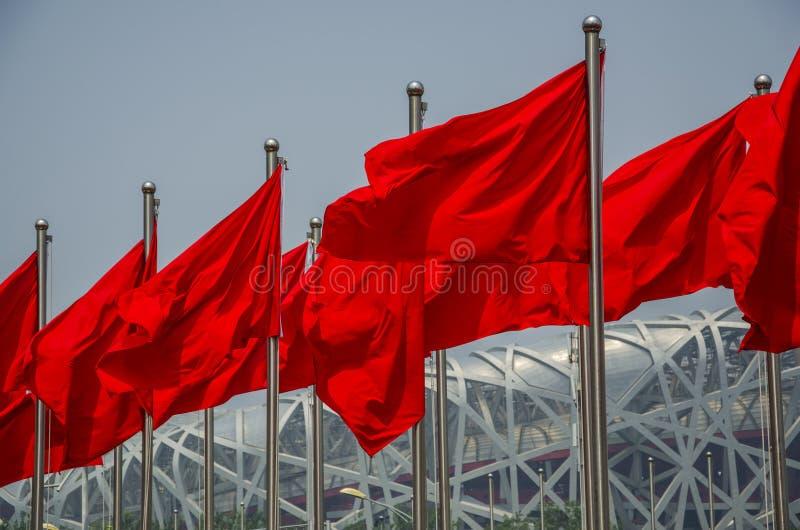 Bandeira vermelha do parque olímpico imagens de stock royalty free