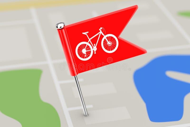 Bandeira vermelha do ponteiro com sinal da pista de bicicleta no fundo do mapa 3d com referência a ilustração stock
