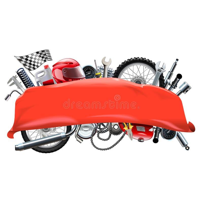Bandeira vermelha do vetor com sobressalentes da motocicleta ilustração stock
