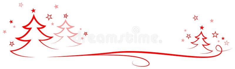 Bandeira vermelha do vetor da árvore de Natal ilustração do vetor