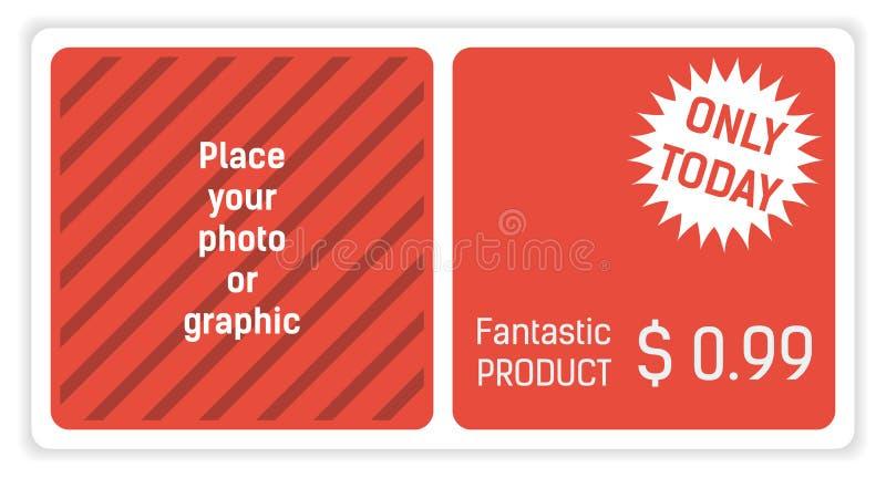 Bandeira vermelha e branca para seu Web site com oferta especial ilustração stock