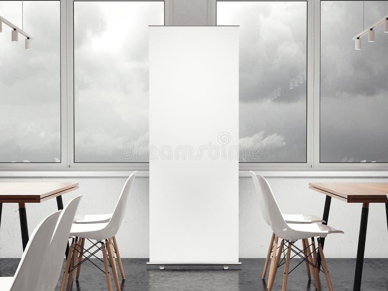 Bandeira vertical branca no restaurante rendição 3d ilustração do vetor