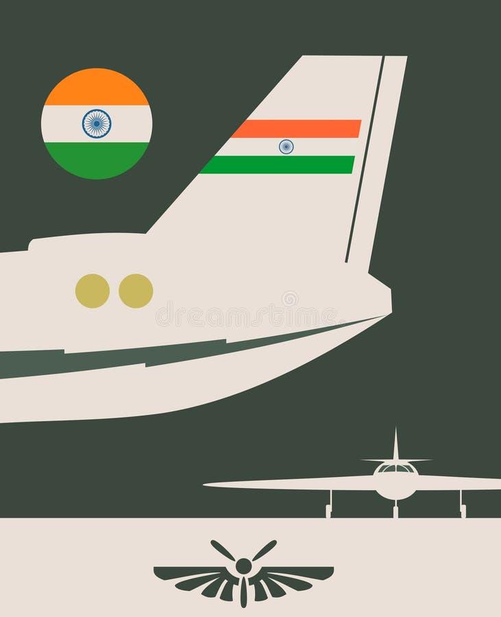 Bandeira vertical com a imagem de uma cauda do avião ilustração royalty free