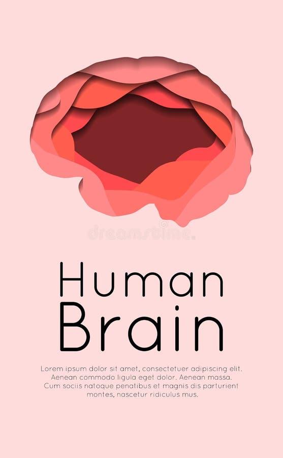 Bandeira vertical com o cérebro humano mergulhado cortado do papel no fundo cor-de-rosa Cartão com o origâmi cortado de papel Dia ilustração stock